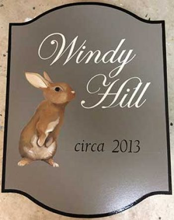handmade rabbit sign
