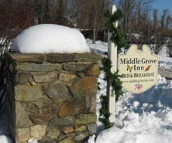 snowy home sign